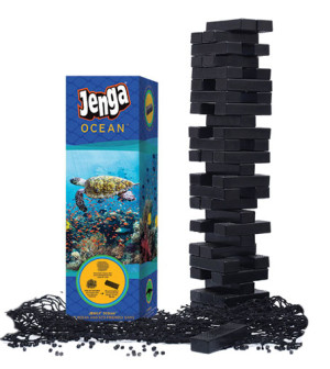 Jenga Ocean made from recycled fishing nets